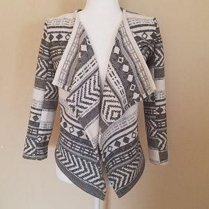 3/$30 ME JANE Black & Ivory Aztec Sweater Jacket